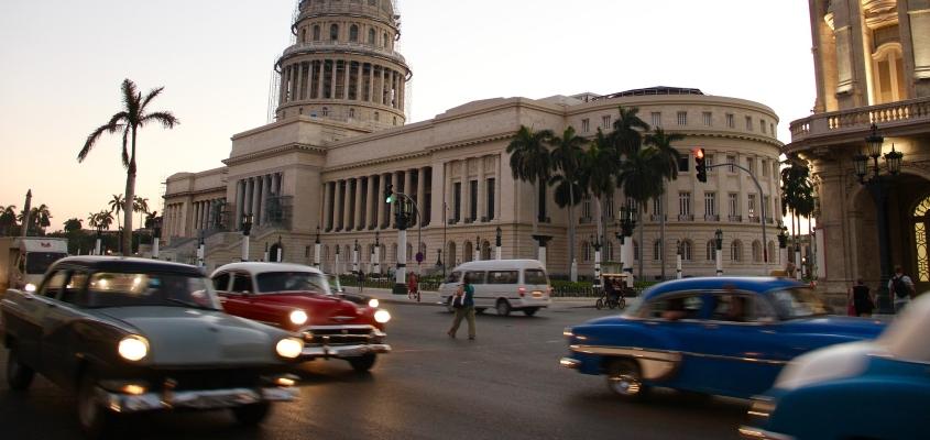 Cars on Road in Havana, Cuba