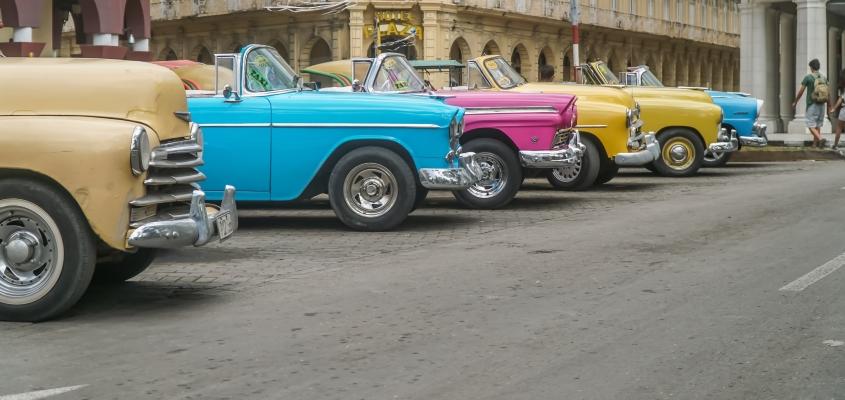 Coloured Cars in Cuba