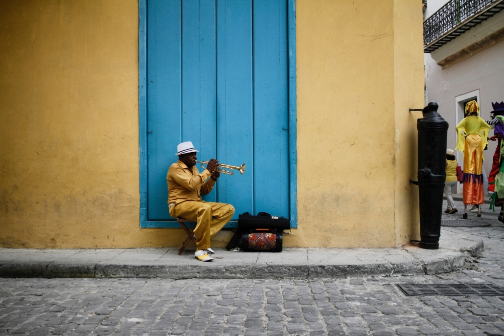 Cuban Man Playing Trumpet